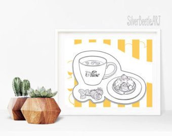 Printables Kitchen Print Tea Drinking Tea Decor Wall Coloring Print Tea Party Tea Art Wall Decor Orange Kitchen Print Diy Coloring - Edit Listing - Etsy