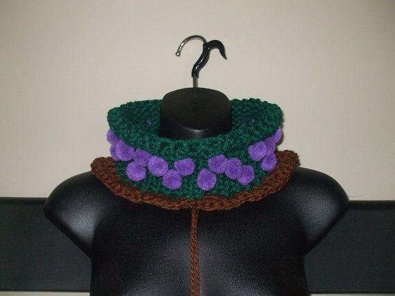 Knit & Crochet Grapevine Cowl  Pom Pom Cowl by TiStephani on Etsy