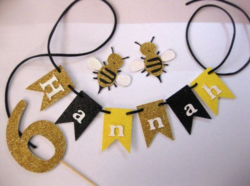 Personalised-Cake-Bunting-AND-Number-cake-topper-Glitter-Bumble-Bee-PARTY