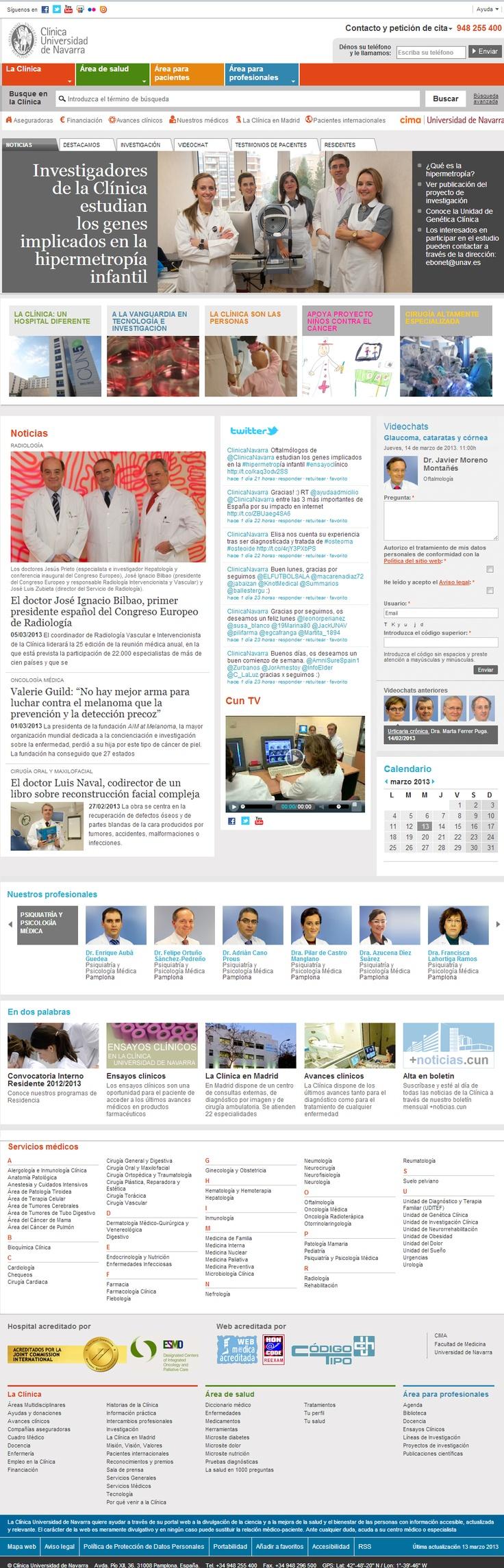 Website Cínica Universidad de Navarra, un caso de excelencia, tanto en contenidos como en estructura web, se plasman a la perfección los tratamientos y especialidades, genera conocimiento a los pacientes y consigue acercar los doctores a los pacientes a través de la web y las redes sociales.
