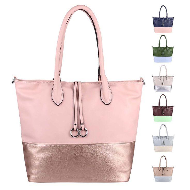 OBC DAMEN HAND-TASCHE XXL Shopper Schultertasche Henkeltasche Beuteltasche DIN-A4 Tote Bag Metallic Umhängetasche Leder Optik – Italyshop24.com