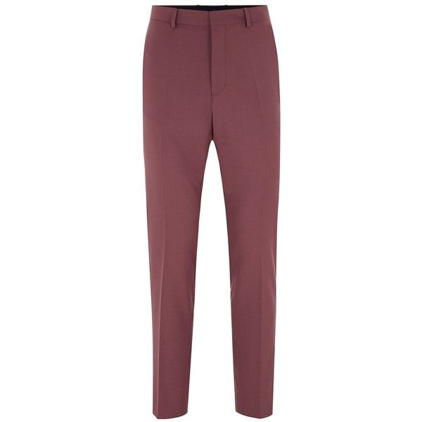 TOPMAN Mauve Skinny Fit Suit Trousers (3.135 RUB) ❤ liked on Polyvore featuring men's fashion, men's clothing, men's pants, men's dress pants, purple, mens skinny suit pants, mens zip off pants, mens purple pants, mens skinny dress pants and mens purple dress pants