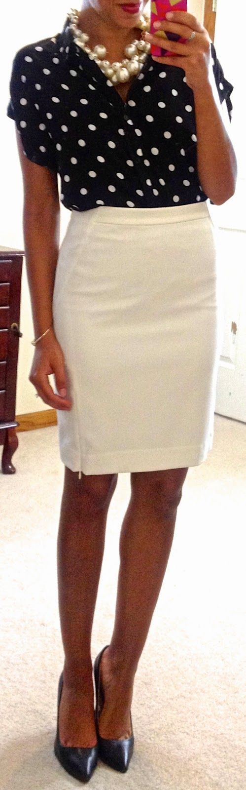 Like this with a shorter skirt