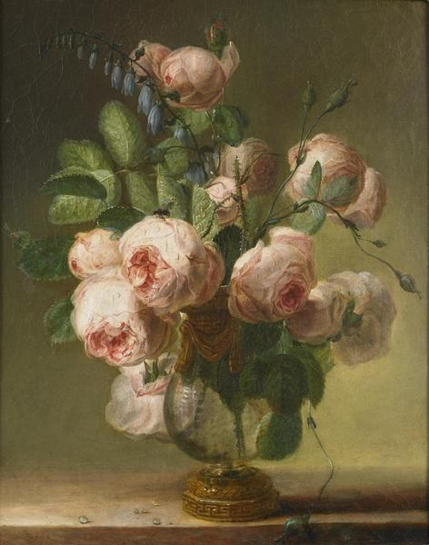 Oil painting...Vase of Flowers...Pierre-Joseph Redoute-1750-1840...pink roses...