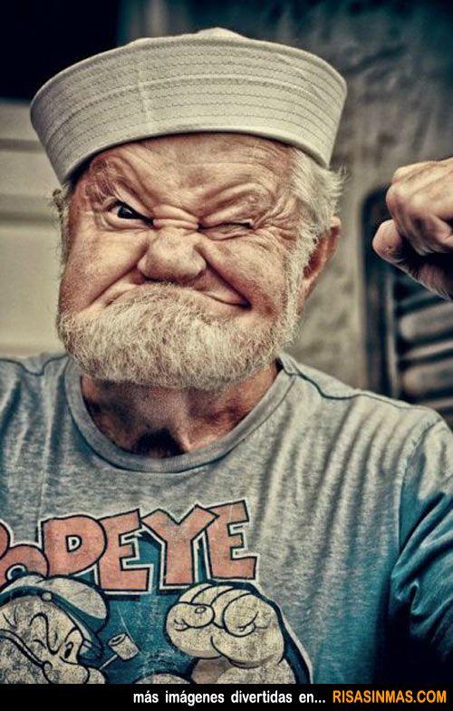 Popeye de abuelo.: This Man, Sailors Man, Real Life, The Real, Photo, Old People, Cartoon Character, Real Popeyes, Green / Azul Marino