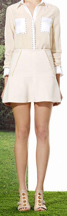 Jazmin Chebar - Verano 2015 / Camisa Lula + Pollera Cristy + Sandalia Rock - Nude total look. (Skirt, Shirt, Sandals).