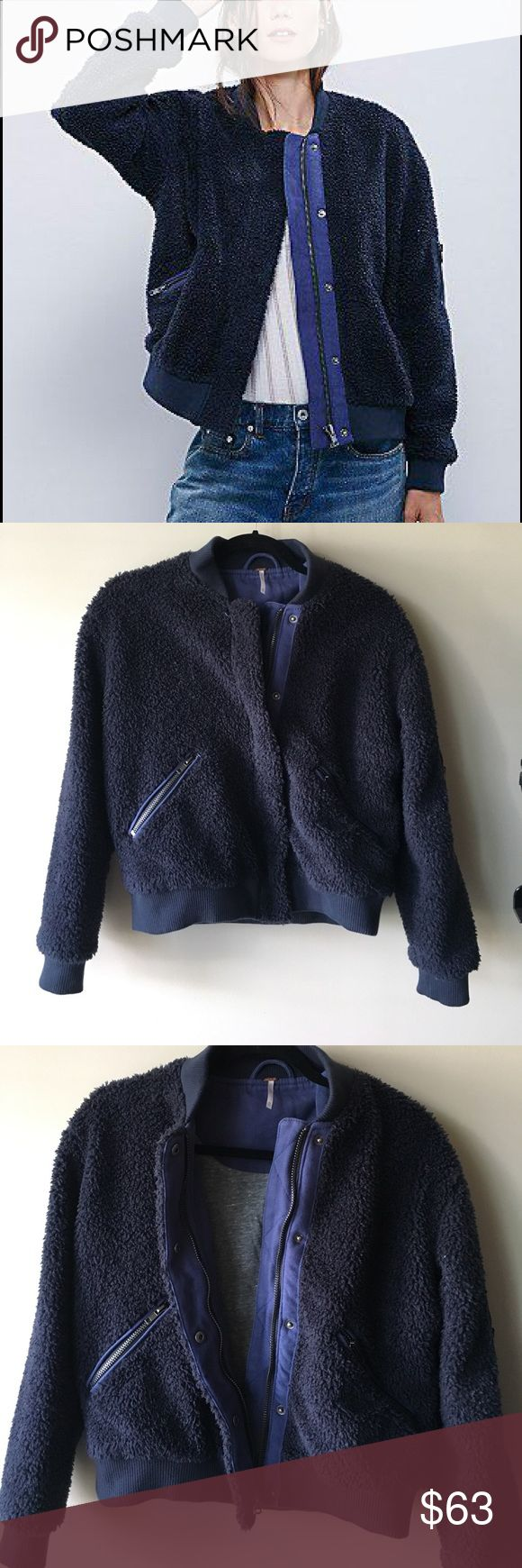 Free People Womens Teddy Aviator Jacket soft teddy exterior, grey jersey material interior, super warm, great condition Free People Jackets & Coats