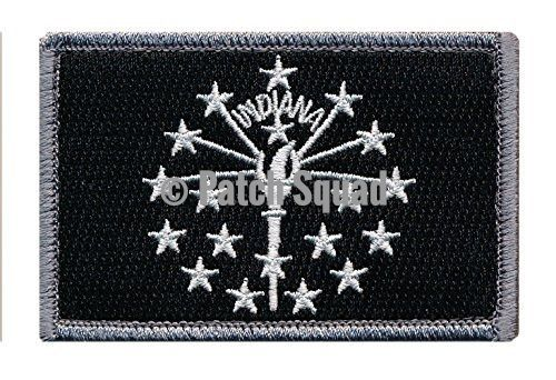 Patch Squad Men's Tactical Indiana Flag Embroidered Patch (Blk/Wht)