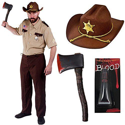 ZOMBIE HUNTER HALLOWEEN FANCY DRESS COSTUME HORROR CHARACTER DEAD SET SHERIFF + AXE + BLOOD (MEDIUM) ILOVEFANCYDRESS http://www.amazon.co.uk/dp/B00O7WN22U/ref=cm_sw_r_pi_dp_CpRiwb14KC7XS