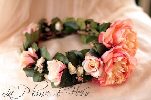 Coral Gem - flower crown, hair circlet.  Coral peonies, cream and coral roses, coral berry cluster and lush foliage.