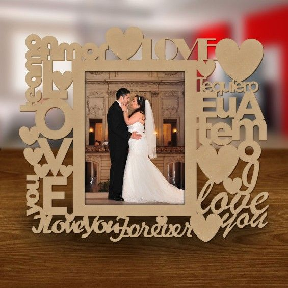 Porta Retrato Amor Foto 10x15 com Corte e Gravação a Laser Cia Laser - 1388 - CasaDaArte