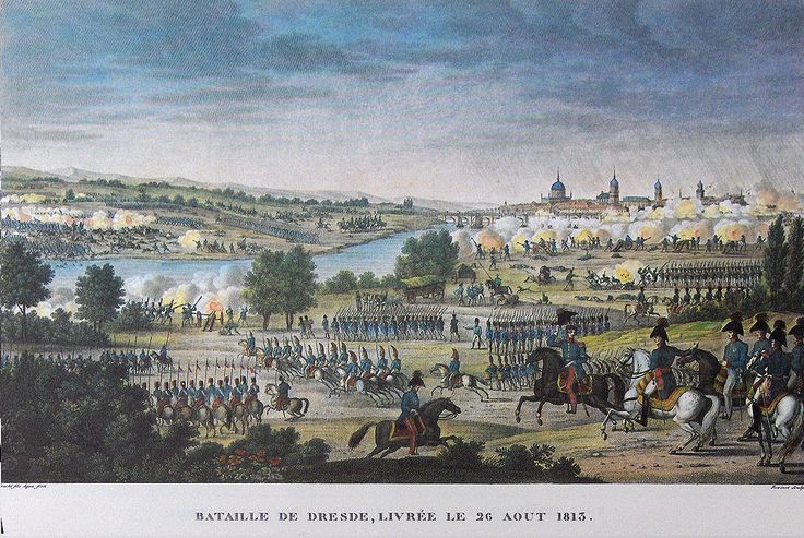 """Battle of Dresden"" colored litho by Antoine Charles Horace Vernet (called Carle Vernet)(1758 - 1836) and Jacques François Swebach (1769-1823)"