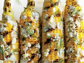 Grilled and Dilled Corn on the Cob Recipe | Gear up for your next football game with these delicious grilled recipes. Tailgating usually means burgers and hot dogs, which definitely aren't absenthere, but we've also thrown in some mouth-watering extras like Tangy Beer-Can Chicken and Grill-Smoked Baba Ghanoush. So fire up the grill and whip together some new game day favorites.