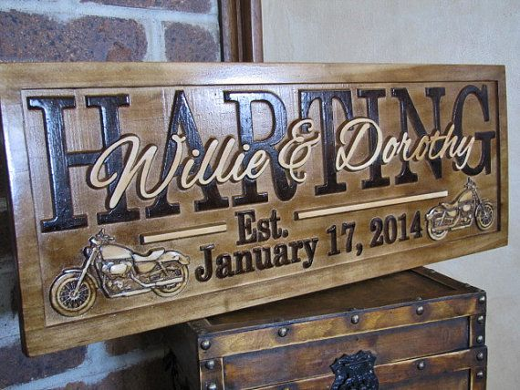 Personalized Family Name Signs Harley Motorcycle Bike plaque custom wedding gift CARVED Wooden Wedding Established Anniversary Shower Gift