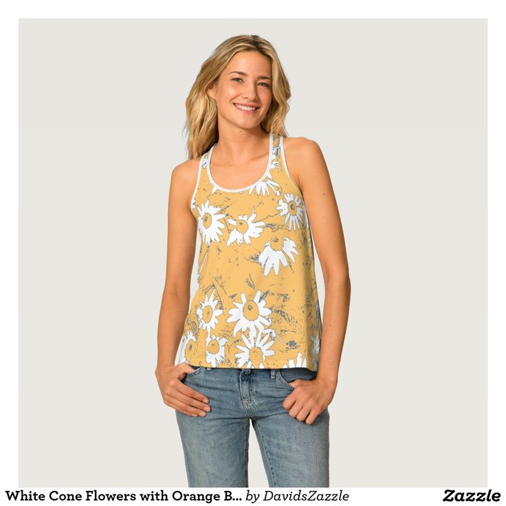 White Cone Flowers with Orange Background Women's Tank Available on more products, type in the name of this design in the search bar on my products page to view them all!  #daisy #cone #shasta #calendula #floral #flower #orange #grey #gray #blue #white #pattern #print #all #over #abstract #plant #nature #earth #life #style #lifestyle #chic #modern #contemporary #fashion #men #women #tank #top