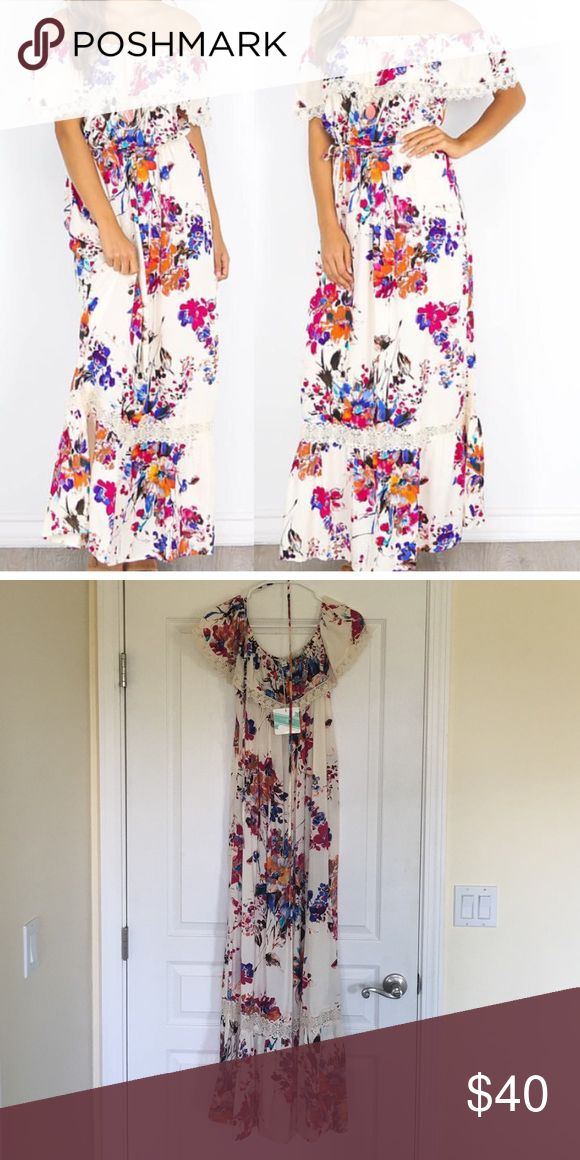 Umgee maxi dress Beautiful floral design maxi dress. Can be worn on or off the shoulder. New with tags. Dresses