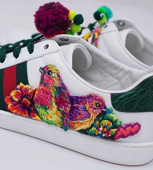 Gucci sneakers, embroidered by Danielle Clough for the #24HourAce campaign.