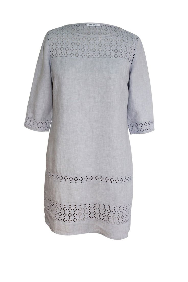 See Saw - Silver Marle Linen 3/4 Sleeve Broderie Dress