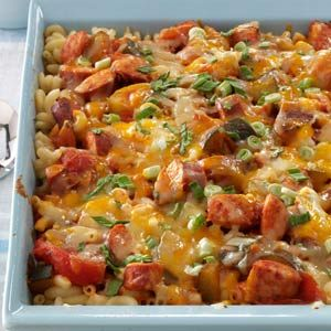 Three-Cheese Kielbasa Bake Recipe | Taste of Home Recipes Made this the other night.  Grown ups liked it....my boys are not a fan!