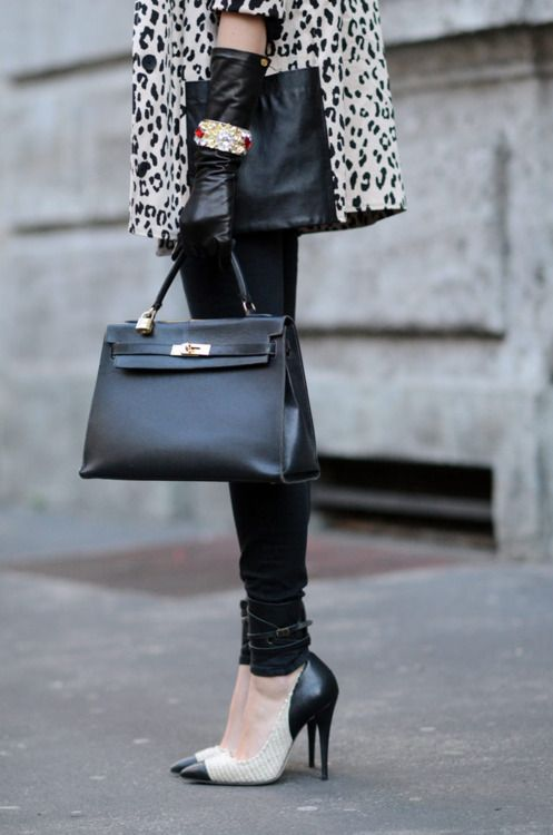 leopard, heels and black leather.