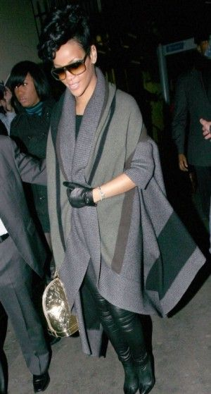Rihanna wearing Alexander McQueen Stretch Leather High Boots, Louis Vuitton Alma Bag in Gold Monogram Mirror, Stella McCartney Wool Blanket Coat and Louis Vuitton Evidence Sunglasses in Black.