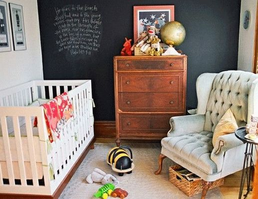 Love the idea of using chalkboard paint for kids' rooms.  Or just letting them paint/color whatever they want to on their own walls.  Need to move to a place where we're allowed to paint the walls first though.... :(