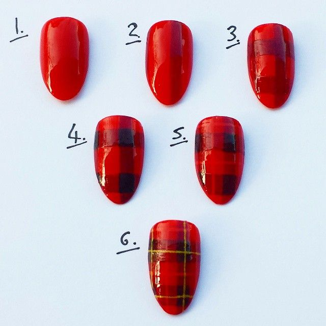 """attitude-nails: """" As requested here's a 6 step Pic tutorial for the red Tartan/plaid nails I did the other day. 1.Apply 2 coats of bright red (shanghai ofatworld) 2.Using a striping brush draw two..."""