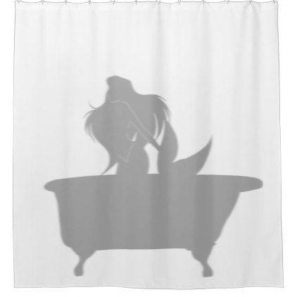 Mermaid In the Tub Shower Silhouette Shadow Fun Shower Curtain - shower curtains home decor custom idea personalize bathroom
