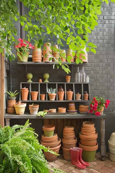 Clay pots adorn on an old potting benchcobbled together from odds and ends found in this reader's garage. | Photo: Dale Horchner | thisoldhouse.com