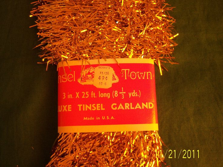 Vintage Christmas Gold Tinsel Garland - Retro Christmas Decoration - Providence Rhode Island - Made In Usa - NOS - NWT by guesswhatIhave on Etsy https://www.etsy.com/listing/86725889/vintage-christmas-gold-tinsel-garland (8.00)