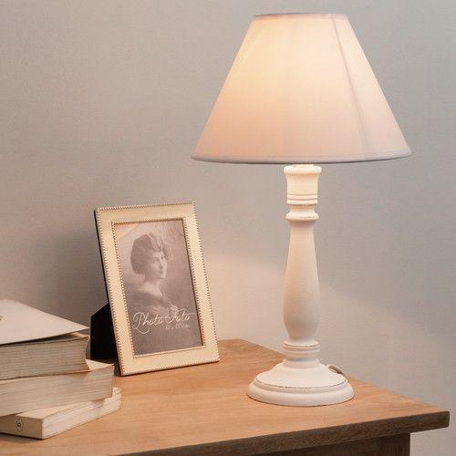 nachttischlampe astride aus holz mit lampenschirm aus stoff h 38 cm wei - Coole Nachttischlampen