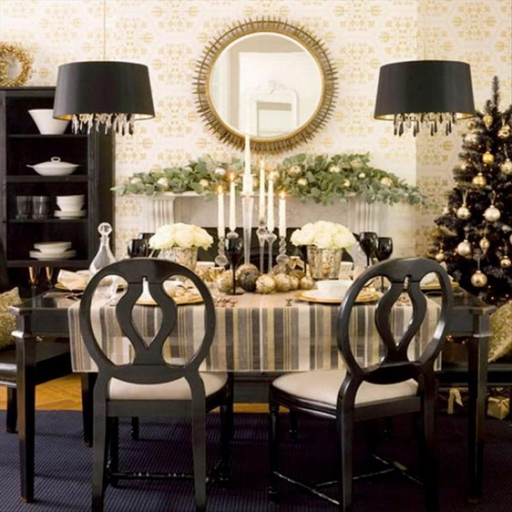 Dining Room Black Pendant Grey Stripes Table Mat Set Candle Holder White Roses Bowl