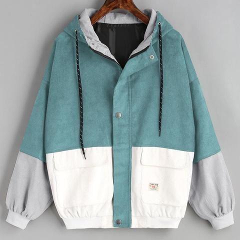 Outerwear & Coats Jackets Long Sleeve Corduroy Patchwork Oversize Zipper Jacket Windbreaker coats and jackets women 2018JUL25 13