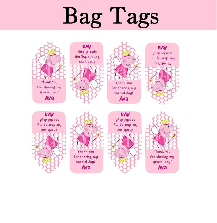 PEPPA Pig Thank You Tags Goodie Bag PERSONALIZED
