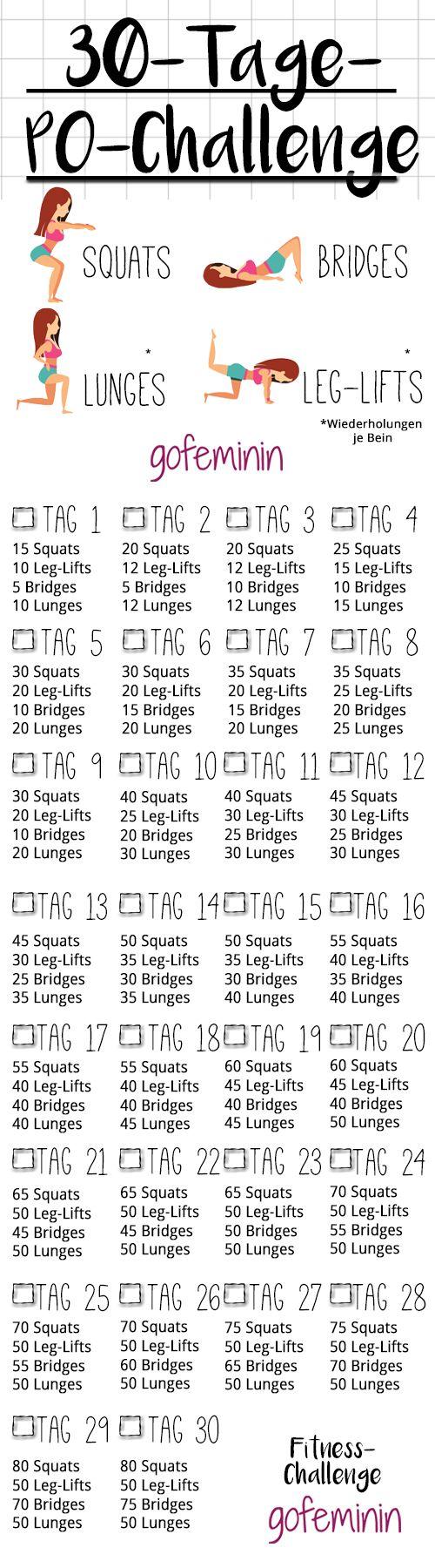 30-Tage-Po-Challenge: In einem Monat zu einem knackigeren Po! #30-Days-Butt-Challenge (Trainingsplan zum Ausdrucken) http://www.gofeminin.de/sport/30-tage-po-challenge-s2129419.html