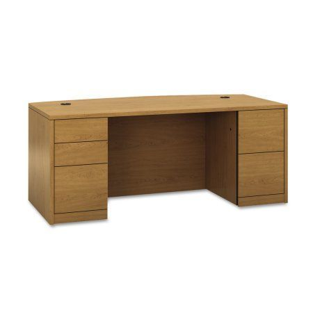 HON 10500 Bow Front Double Pedestal Desk, Full-Height Pedestals, 72w x 36d, Harvest