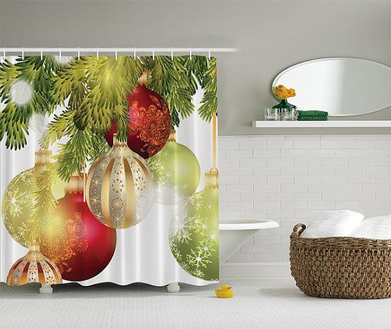 Red Gold Green Holiday Ornaments In Christmas Tree Fabric Shower Curtain