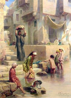 Wash day on the Nile 1896 By Paul Dominique Philippoteaux - French, 1845-1923