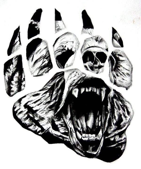 crawling-bear-face-in-paw-print-tattoo-design.jpg (600×720)