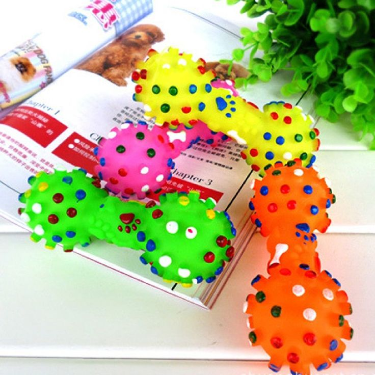Dog Toys Colorful Dotted Dumbbell Shaped Dog Toys Squeeze Squeaky Faux Bone Pet Chew Toys For Dogs #Affiliate