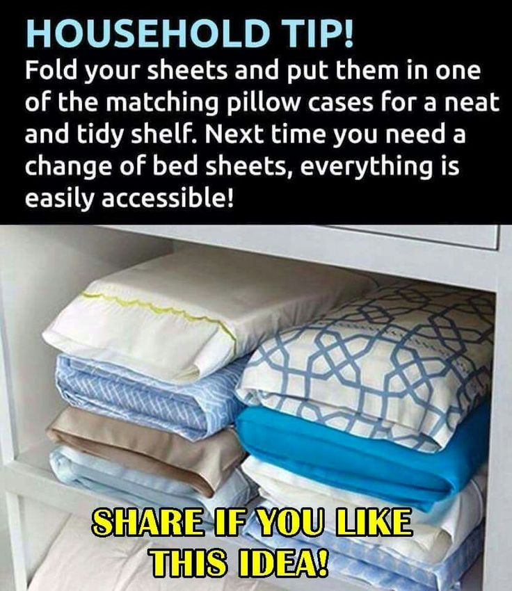 Simple hack for storing sheets neatly in your linen closet.