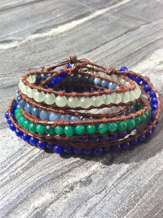 Wrap leather bracelet Leather and semiprecious stones wrap