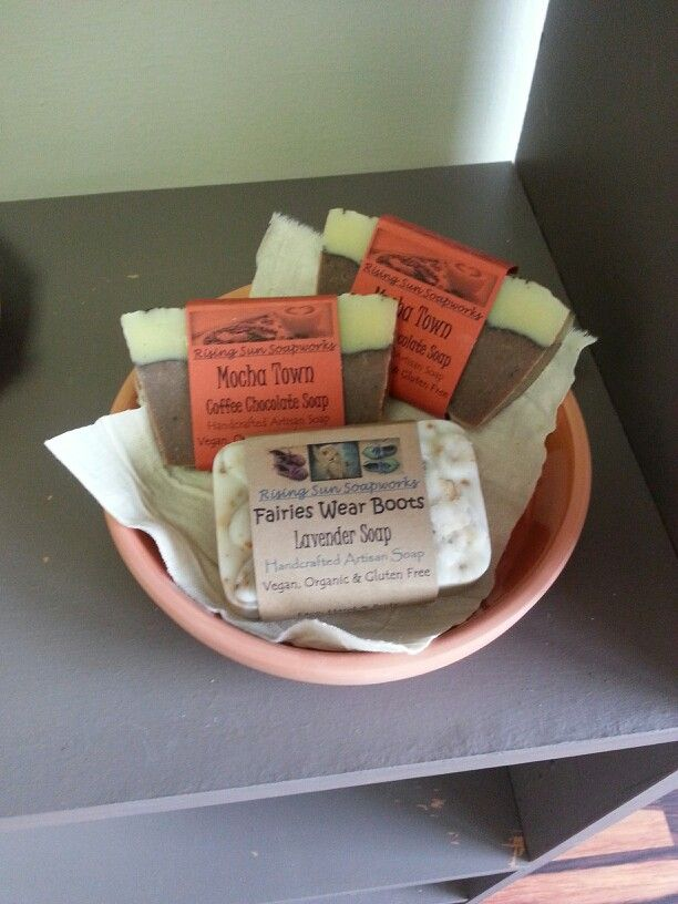 Home-crafted soap from Rising Sun Soapworks. Vegan, organic and gluten free. Available in store.