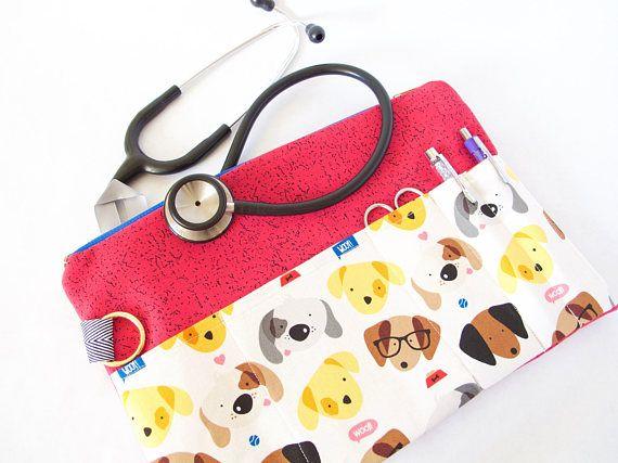 DOGS Stethoscope Pouch. Vet Tech Bag. Vet Tech Student Gift.