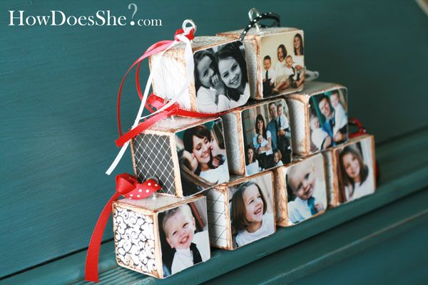Love this idea. Maybe next Christmas...Christmas Gift Ideas, Wood Block, Crafts Ideas, Photos Block, Christmas Ornaments, Wooden Block, Photos Ornaments, Xmas Gift, Christmas Gifts