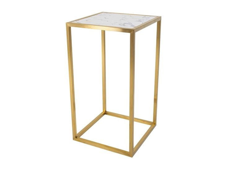 Bar Table Hire | Outline Bar Table Gold Frame with Faux Marble Top - Indoor Use…