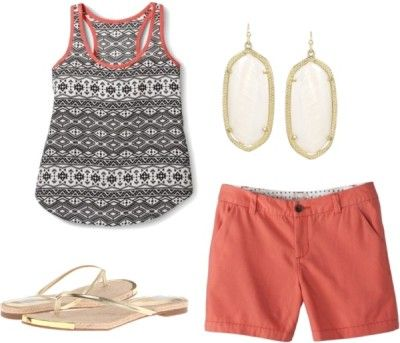 Outfit One - Fourteen piece, ten day summer vacation packing list with ten outfits and printable packing list!  http://getyourprettyon.com/ten-day-summer-vacation-packing-list/