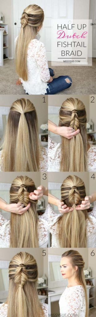 Best Hair Braiding Tutorials - Half Up Dutch Fishtail Braid - Easy Step by Step Tutorials for Braids - How To Braid Fishtail, French Braids, Flower Crown, Side Braids, Cornrows, Updos - Cool Braided Hairstyles for Girls, Teens and Women - School, Day and Evening, Boho, Casual and Formal Looks http://diyprojectsforteens.com/hair-braiding-tutorials #braidedhairstylesboho #braidedhairstylesforschool #easyhairstylesupdo