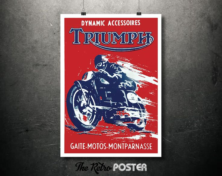 1960s Triumph Dynamic Accessoires - Gaite-Motos-Montparnasse Vintage Motorcycle Poster // High Quality Fine Art Reproduction Giclée Print by TheRetroPoster on Etsy