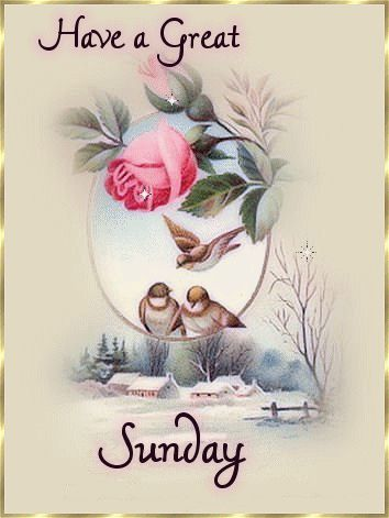 Have a Great Sunday day birds winter rose days of the week sunday sunday greeting
